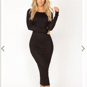Fashion Nova bodycon long sleeve black dress